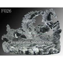 K9 mão de cristal esculpida cavalos