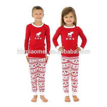 2017 al por mayor del algodón de la raya del bebé de punto conjuntos suaves niños pijamas de Navidad