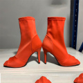 The latest popular stiletto heel fashion stretch open toe zipper Mid-calf women's boots US 11