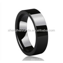 Großhandel schwarze glatte Oberfläche Keramik Ringe Damen Herren Ringe Mode Ringe Schmuck Zubehör Porzellan Schmuck Hersteller