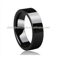 Wholesale black smooth surface ceramic rings women's men's rings fashion rings jewellery accesories china jewelry manufacturer