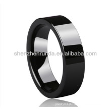 Atacado preto lisa superfície anéis de cerâmica anéis dos homens das mulheres anéis de moda jóias acessórios china jóias fabricante