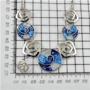 Fashion Jewelry Necklace Set with shell & Imitation Rhodium Plating