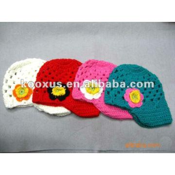 Fashion Red Säugling Häkeln Mini Hüte mit Blume