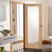 Porte de salle de bain vitrée en bois