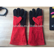 16 inches cow split leather working gloves with black reinforced palm