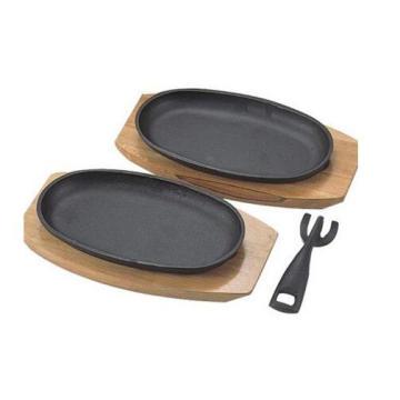 cast iron sizzler pan BBQ grill pan pre-seasoned