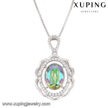43090 moda de luxo rodada cristais de swarovski ródio imitação de jóias colar de pingente