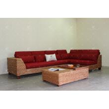 Ensemble de canapé sectionnel particulièrement intéressant pour les meubles d'intérieur utilisant le tissage de la jacinthe d'eau naturelle