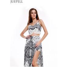 Europa Retro Moda Verão Impresso Terno Mulheres Sexy Com Decote Em V Camisola Peça Dividir Culottes Vestido