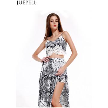 Europa Retro Summer Fashion Printed Suit Mujeres Sexy con cuello en V Cuello camisola Split Culottes vestido