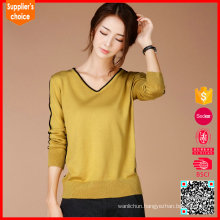 Latest stylish wholesale women v neck cashmere knitted sweaters