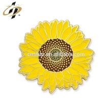 Perno de encargo del esmalte duro del perno de la solapa de la flor del sol del metal del recuerdo de la boda