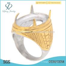 Prix d'usine améthyste en acier inoxydable or jaune anneaux d'indonésie avec une bonne qualité