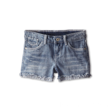Soft Cotton Double Denim Rüschen Shorts für Kinder