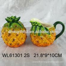 Conjunto de açúcar e creme de abacaxi cerâmico com colher para venda por atacado