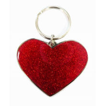 Red Heart Metal Iron Key Chain, Red Paint & Epoxy Dome For Promotions And Souvenirs