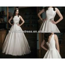 WD1037 magnífico satén organza Sabrina escote y un plisado cummerbund circular corte falda weddingdress