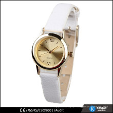 gold alloy case waterproof pu leather women wrist watch