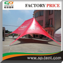 Printed star twin 1320 canopy tent 16x21m in Red color with white Logo on the roof