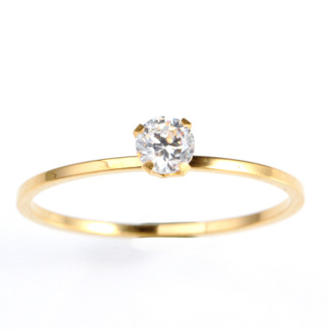 Reka bentuk sederhana berlian emas Engagement Wedding Ring