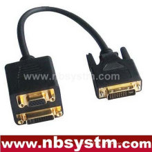 DVI male to VGA female + 3RCA female adapter cable