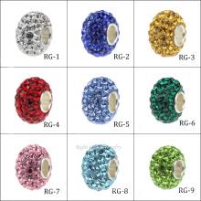 El precio de fábrica de China granos cristalinos del espaciador europeo encantos encantos de la pulsera DIY del agujero grande rosado