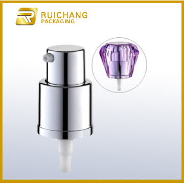 18mm aluminium cream pump with diamond overcap