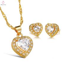 2018 pakistanais Unique collier et boucles d'oreilles ensemble de bijoux de mariée, mariage parti Zircon paon or plaqué bijoux de mariée ensemble