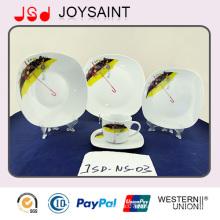 La meilleure vaisselle en céramique de vaisselle de porcelaine de forme carrée de qualité