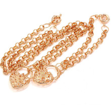 Xuping 18k Gold Plated Jewelry Heart Chains Set (60609)