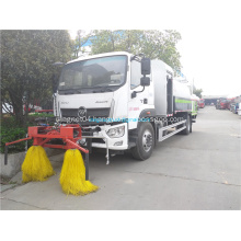 Dust suppression vehicle with guardrail cleaning function