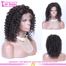 Wholesale brazilian virgin human hair short curly lace front wigs for black women