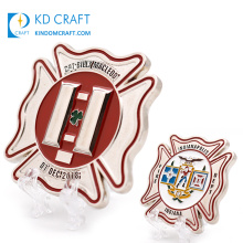 High Quality Personalised Custom Metal Zinc Alloy Enamel Clover Shamrock Logo Security Office Fire Department Firefighter Challenge Coins for Souvenir