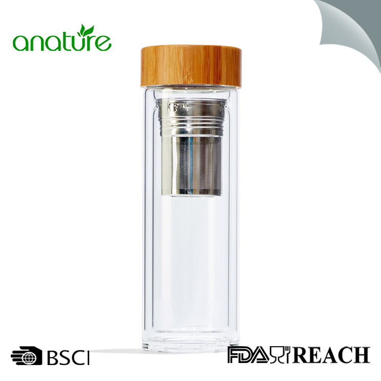 Double Wall Glass Infuser Bottle With Bamboo Lid