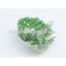 Purple Fluorite Chip Stone Stretch Seed Perles de verre Ring