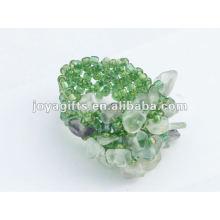 Фиолетовый кристалл флюорита камень Стретч-семя стеклянные бусины кольцо