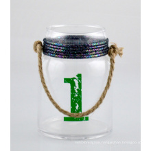 Glass Candle Holder with Colorful Rope and Jute Handle
