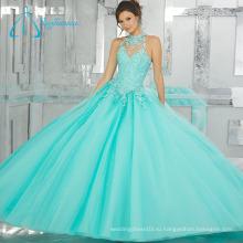 Бисероплетение Кристалл Тюль Атласная Sexy Бальное Платье Quinceanera Платье