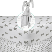 Logo personnalisé de taille douce de bébé de feuille de coton pour le drap-housse de bébés de garçons et de filles