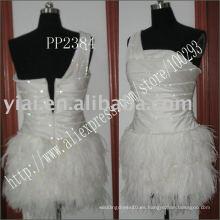 2011 la pluma atractiva de la fabricación del envío de la gota de la alta calidad rebordeó un vestido de coctel del hombro PP2384