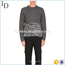Suéter de cashmere de dois tons moda masculina spandex pulôver