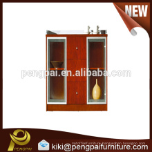 Appealing wooden reddish tea cabinet design