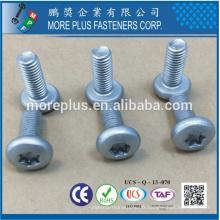 Fabricant à Taiwan Carbon Steel Torx Cross Recessed Pan Head M6X16 Vis à la machine à galvaniser