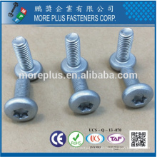 Maker in Taiwan Carbon Steel Torx Cross Recessed Pan Head M6X16 Zinc Plating Machine Screw