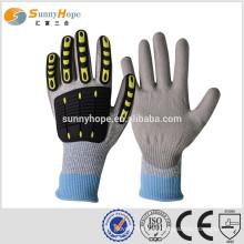 Sunnyhope TPR cinzento PU revestido Luvas de segurança para chips industriais
