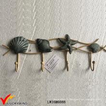 Crochets muraux décoratifs faits main à la main Seashell Vintage Metal