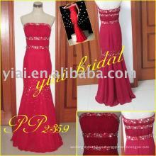 PP2359 Vestido de noche rojo moldeado pesado de la sirena de la gasa 2013