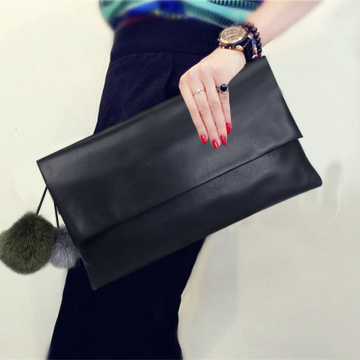 Elegância Senhora Evening Black PU Clutch Bag