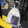 Portable canvas bag with drawstring pockets small fresh
